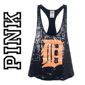 PINK Victoria's Secret Sequin Detroit Tigers Top